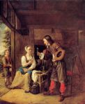 pieter de hooch a man offering a glass of wine to a woman paintings: 77259