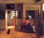 a mother and child with its head in her lap by pieter de hooch painting