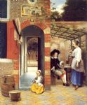 figures drinking in a courtyard by pieter de hooch painting