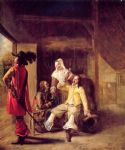 two soldiers and a serving woman with a trumpeter by pieter de hooch painting