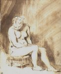 rembrandt van rijn a seated female nude painting