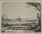 rembrandt van rijn landscape with a canal and large boat painting 25613