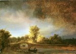 rembrandt van rijn landscape with stone bridge painting 25620
