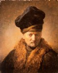 rembrandt van rijn old man in fur coat painting