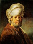 oriental paintings - portrait of a man in oriental garment iii by rembrandt van rijn