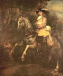 portrait paintings - portrait of frederick rihel on horseback by rembrandt van rijn