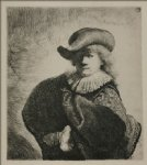 portrait paintings - portrait of rembrandt with broad hat by rembrandt van rijn