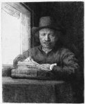 rembrandt drawing at a window by rembrandt van rijn painting