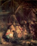 the adoration of the shepards by rembrandt van rijn painting
