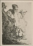 two beggars a man and a woman coming from behind a bank by rembrandt van rijn painting