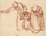 two women teaching a child to walk by rembrandt van rijn painting