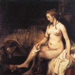 bathsheba at her bath by rembrandt painting