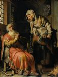 tobit and anna with a kid by rembrandt painting
