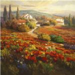 poppy paintings - poppy fields by roberto lombardi