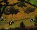 cows in a meadow by roger de la fresnaye painting