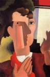 man with a red kerchief by roger de la fresnaye painting