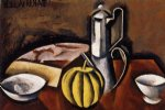 still life with coffee pot and melon by roger de la fresnaye painting