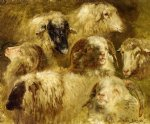 heads of ewes and rams by rosa bonheur painting