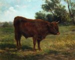 longhorn bull in a landscape by rosa bonheur painting