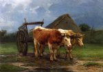 oxen pulling a cart by rosa bonheur painting