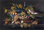 elaborate still life with silver basket of plums by severin roesen painting