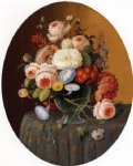 floral arrangement in a glass vase on a clothed table by severin roesen painting