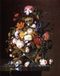 floral still life with bird s nest by severin roesen painting