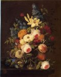 floral still life with nest of eggs by severin roesen painting