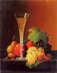 fruit and a glass of champagne on a tabletop by severin roesen painting