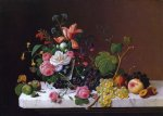 fruit and flowers on a marble table ledge by severin roesen painting