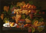fruit and lemon water by severin roesen painting