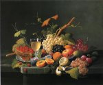fruit on a marble ledge with wine glass by severin roesen painting