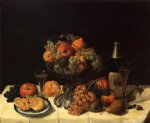 fruit still life with champagne bottle by severin roesen painting