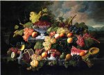 severin roesen fruit still life with wine glass in a landscape paintings: 25128