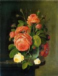 rose paintings - roses on a tabletop by severin roesen