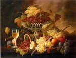severin roesen still life with fruit and wine glass ii paintings: 25158