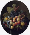 severin roesen still life with fruit and wine glass paintings: 25159