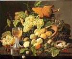 severin roesen still life with fruit bird s nest and wine glass paintings: 25150