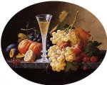 severin roesen still life with fruits and wine glass paintings: 25177