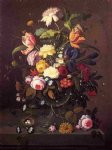 severin roesen vase of flowers in footed glass bowl with bird s nest painting 25190