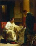 vespasian hearing from one of his generals of the taking of jerusalem by titus by sir lawrence alma tadema painting