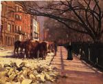 beacon street boston by theodore robinson painting