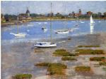 low tide the riverside yacht club by theodore robinson painting