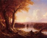 thomas cole indian at sunset oil painting