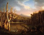 lake with dead trees by thomas cole painting