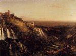 the cascatelli tivoli looking towards rome by thomas cole painting-24744