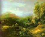 thomas gainsborough mountain landscape with peasants crossing a bridge painting 24514