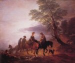 thomas gainsborough open landscape with mounted peasants painting 24527