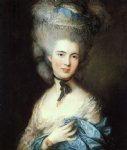 portrait painting - portrait of a lady in blue by thomas gainsborough
