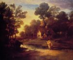 thomas gainsborough wooded landscape with cattle by a pool and a cottage at evening painting 24583